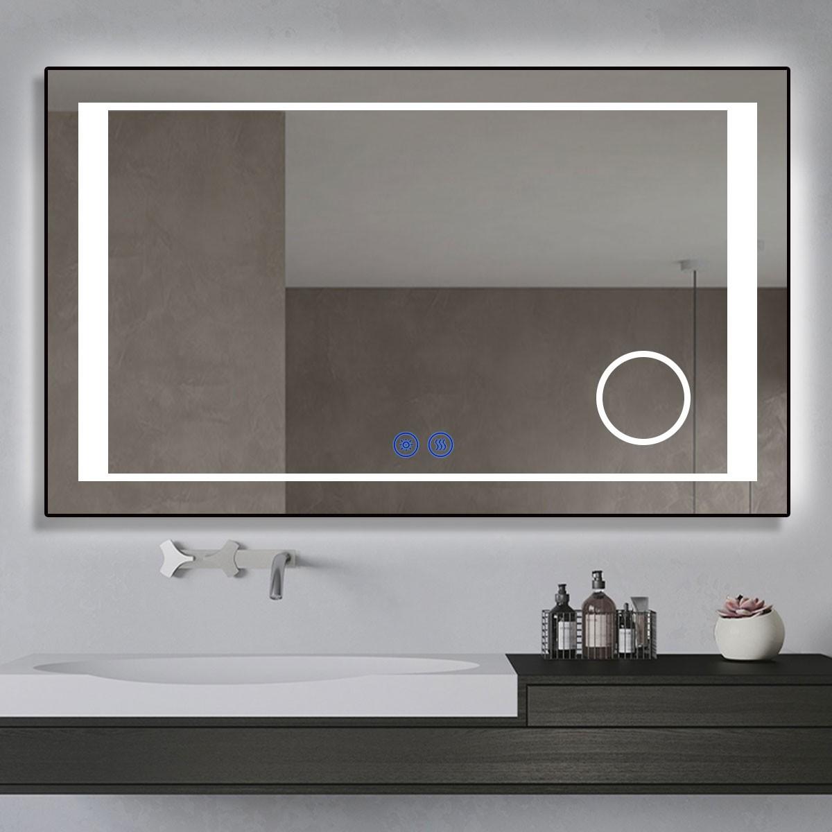 DECORAPORT 40 x 24 Po Miroir de Salle de Bain LED/Miroir Chambre avec Bouton Tactile, Loupe, Anti-Buée, Luminosité Réglable, Montage Vertical & Horizontal (KT11-4024)