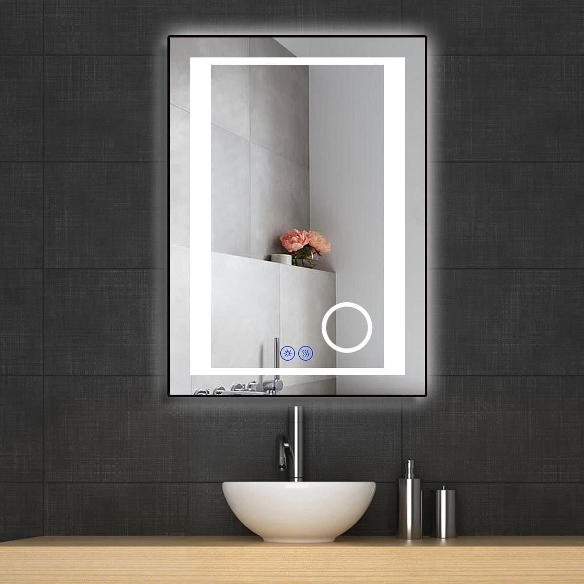 DECORAPORT 20 x 28 Po Miroir de Salle de Bain LED/Miroir Chambre avec Bouton Tactile, Loupe, Anti-Buée, Luminosité Réglable, Montage Vertical & Horizontal (KT16-2028)