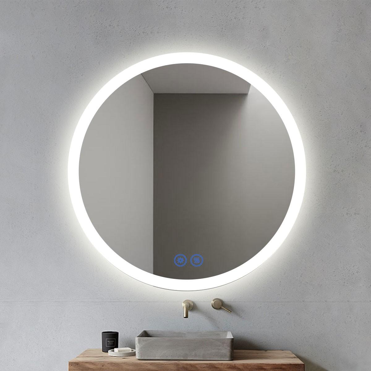 DECORAPORT 28 x 28 Po Miroir de Salle de Bain LED/Miroir Chambre avec Bouton Tactile, Anti-Buée, Luminosité Réglable, Montage Vertical & Horizontal (YT02-2828)