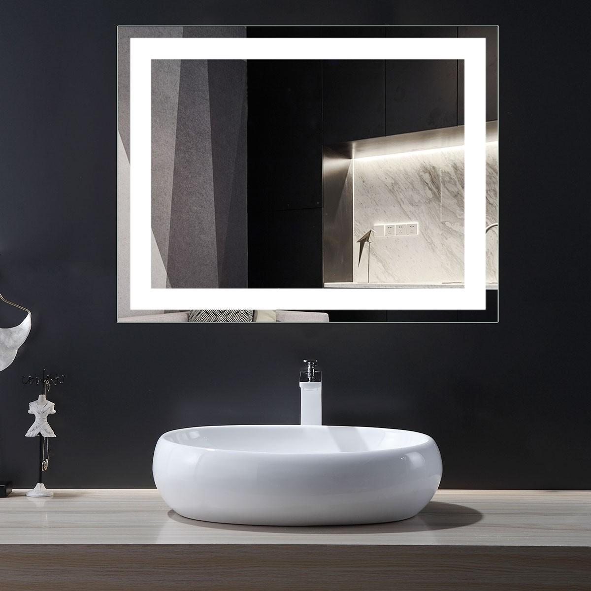 DECORAPORT 36 x 28 Po Miroir de Salle de Bain LED/Miroir Chambre avec Contrôle du Capteur Infrarouge, Anti-Buée, Montage Vertical & Horizontal (CG13-3628)