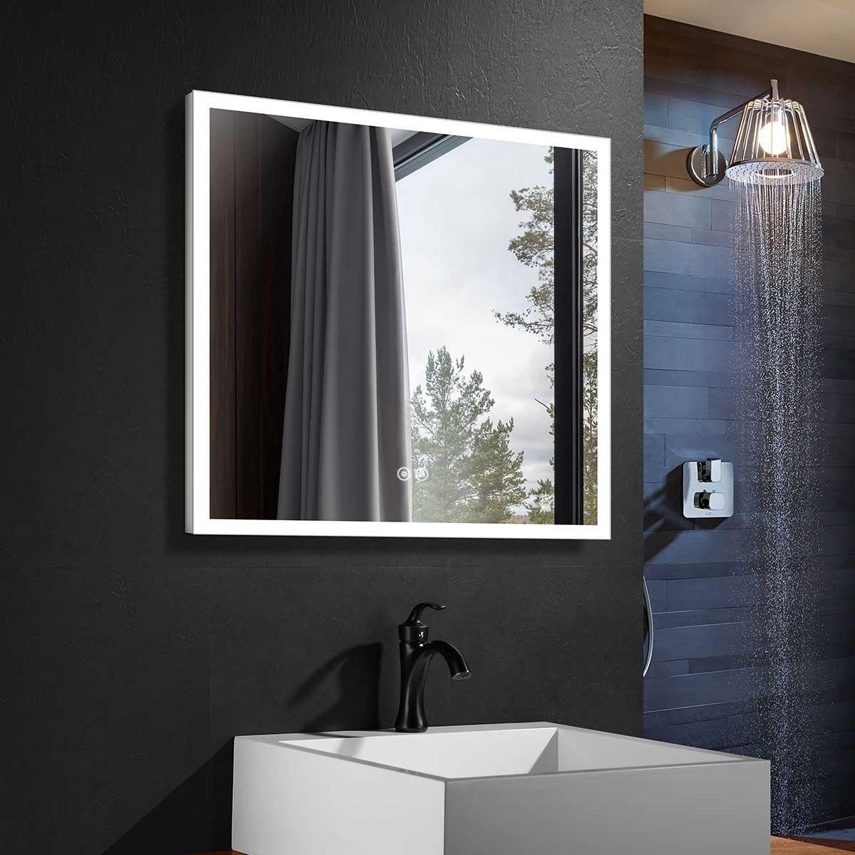 DECORAPORT 36 x 36 Po Miroir de Salle de Bain LED avec Bouton Tactile, Anti-Buée, Luminosité Réglable (D112-3636)