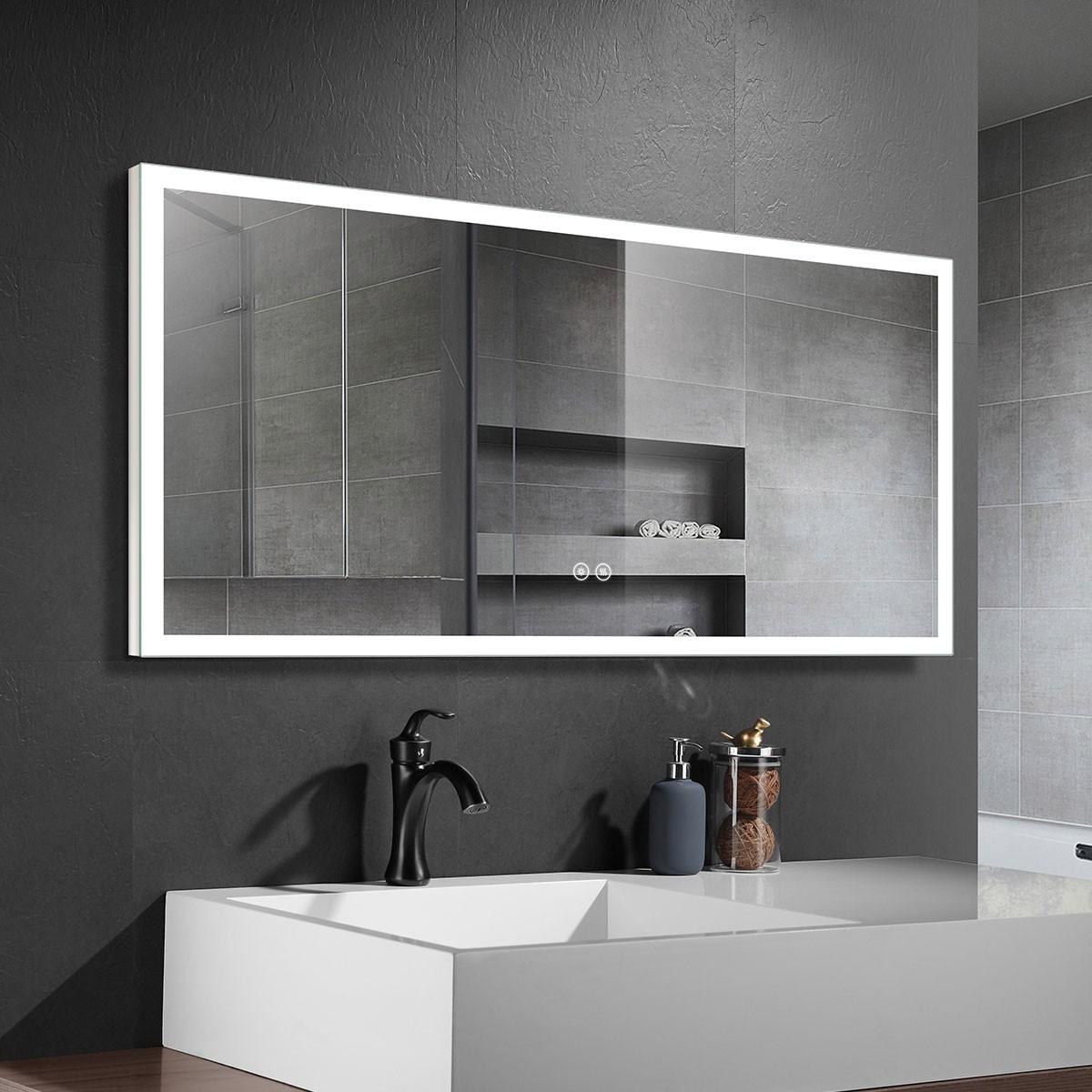 DECORAPORT 55 x 28 Po Miroir de Salle de Bain LED avec Bouton Tactile, Anti-Buée, Luminosité Réglable, Bluetooth, Montage Vertical & Horizontal (D122-5528A)