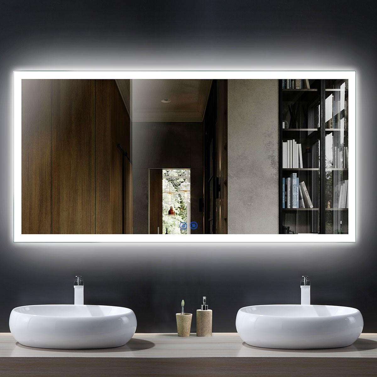 DECORAPORT 55 x 28 Po Miroir de Salle de Bain LED avec Bouton Tactile, Anti-Buée, Luminosité Réglable, Montage Vertical & Horizontal(D106-5528)