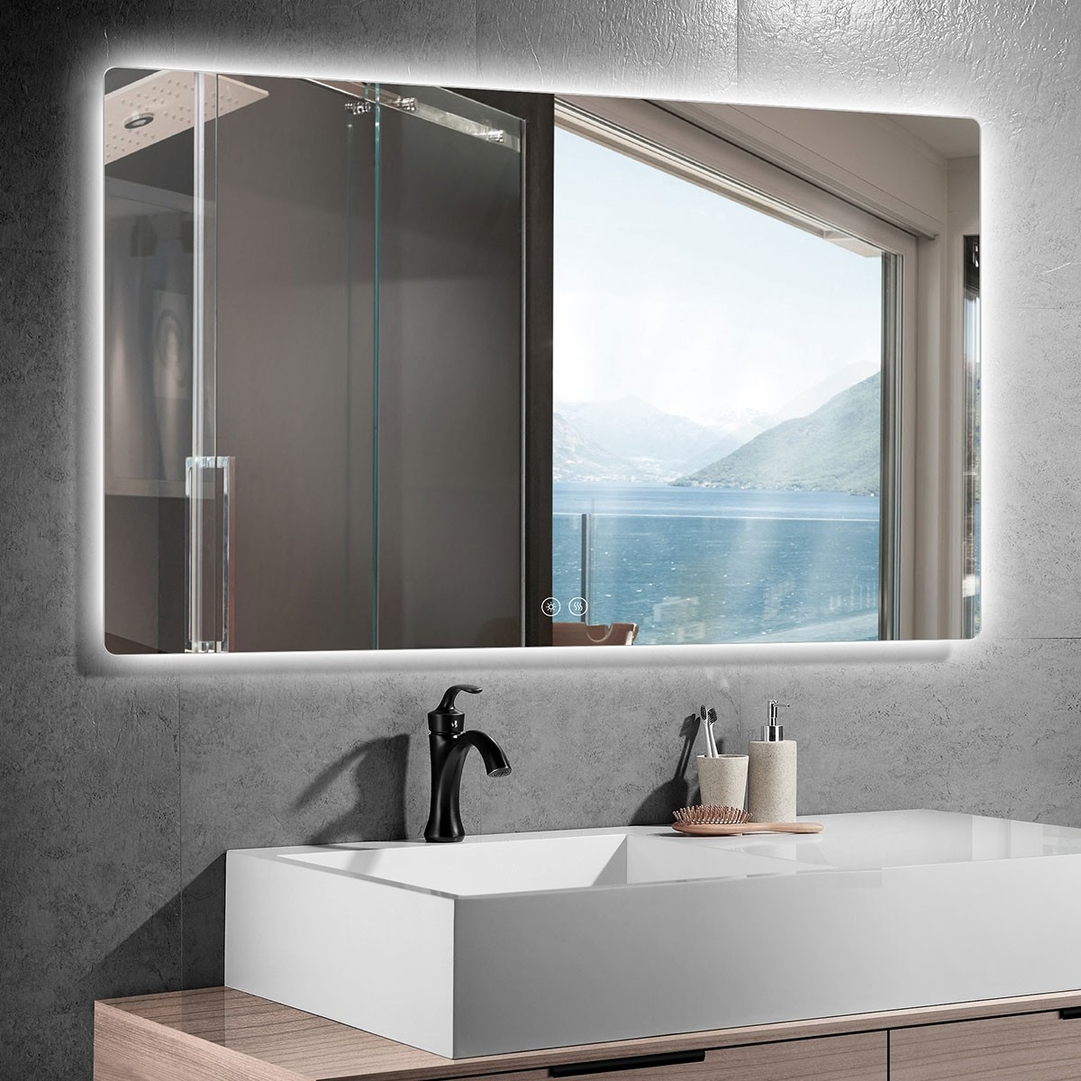 DECORAPORT 55 x 36 Po Miroir de Salle de Bain LED avec Bouton Tactile, Anti-Buée, Luminosité Réglable, Bluetooth, Montage Vertical & Horizontal (D521-5536A)