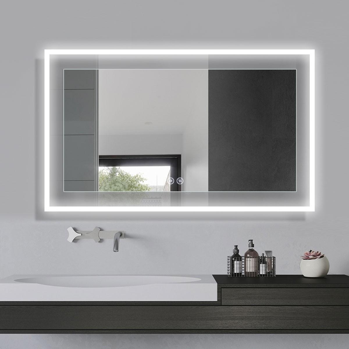 DECORAPORT 60 x 36 Po Miroir de Salle de Bain LED avec Bouton Tactile, Anti-Buée, Luminosité Réglable, Bluetooth, Montage Vertical & Horizontal (D321-6036A)