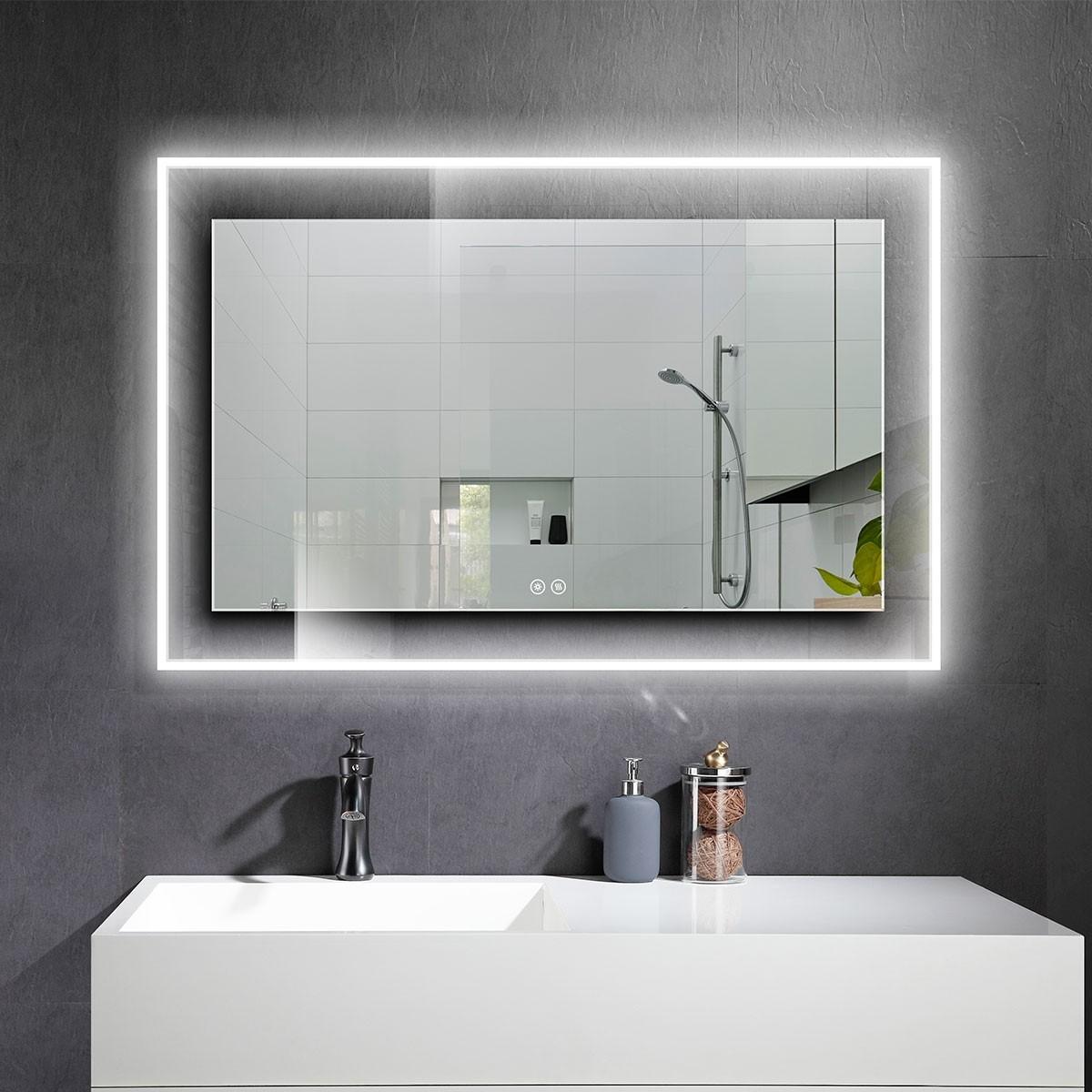 DECORAPORT 55 x 36 Po Miroir de Salle de Bain LED avec Bouton Tactile, Anti-Buée, Luminosité Réglable, Bluetooth, Montage Vertical & Horizontal (D322-5536A)