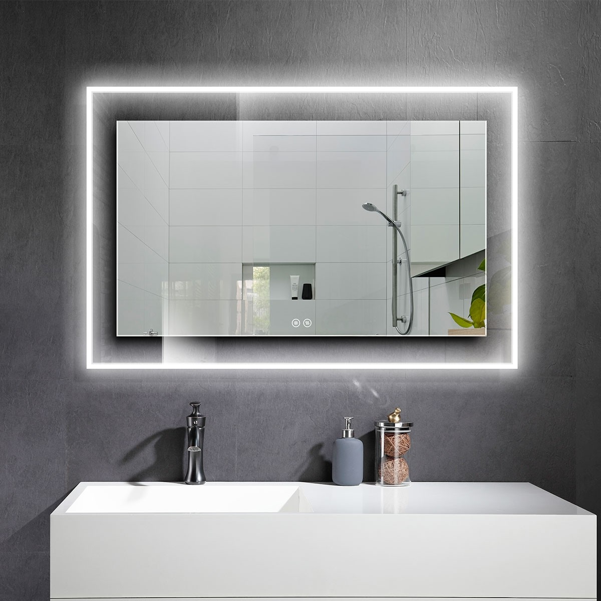 DECORAPORT 55 x 36 Po Miroir de Salle de Bain LED avec Bouton Tactile, Anti-Buée, Luminosité Réglable, Bluetooth, Montage Vertical & Horizontal (D322-5536A)