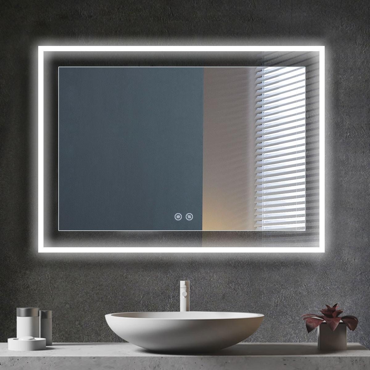 DECORAPORT 48 x 36 Po Miroir de Salle de Bain LED avec Bouton Tactile, Anti-Buée, Luminosité Réglable, Bluetooth, Montage Vertical & Horizontal (D323-4836A)