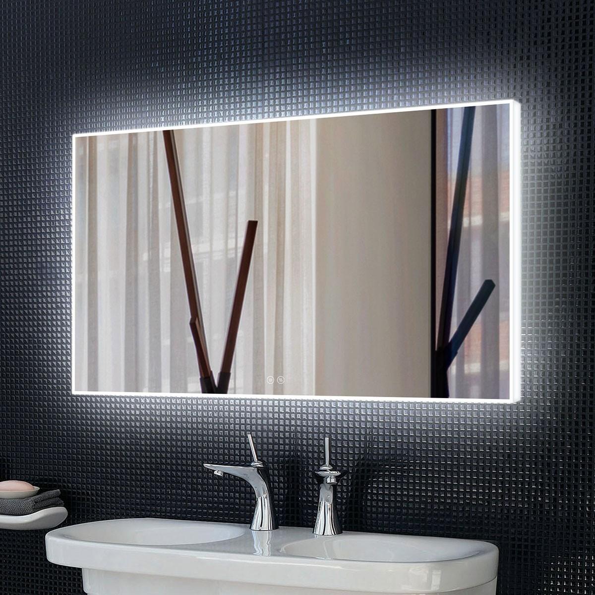 DECORAPORT 60 x 36 Po Miroir de Salle de Bain LED avec Bouton Tactile, Anti-Buée, Luminosité Réglable, Bluetooth, Montage Vertical & Horizontal (D421-6036A)