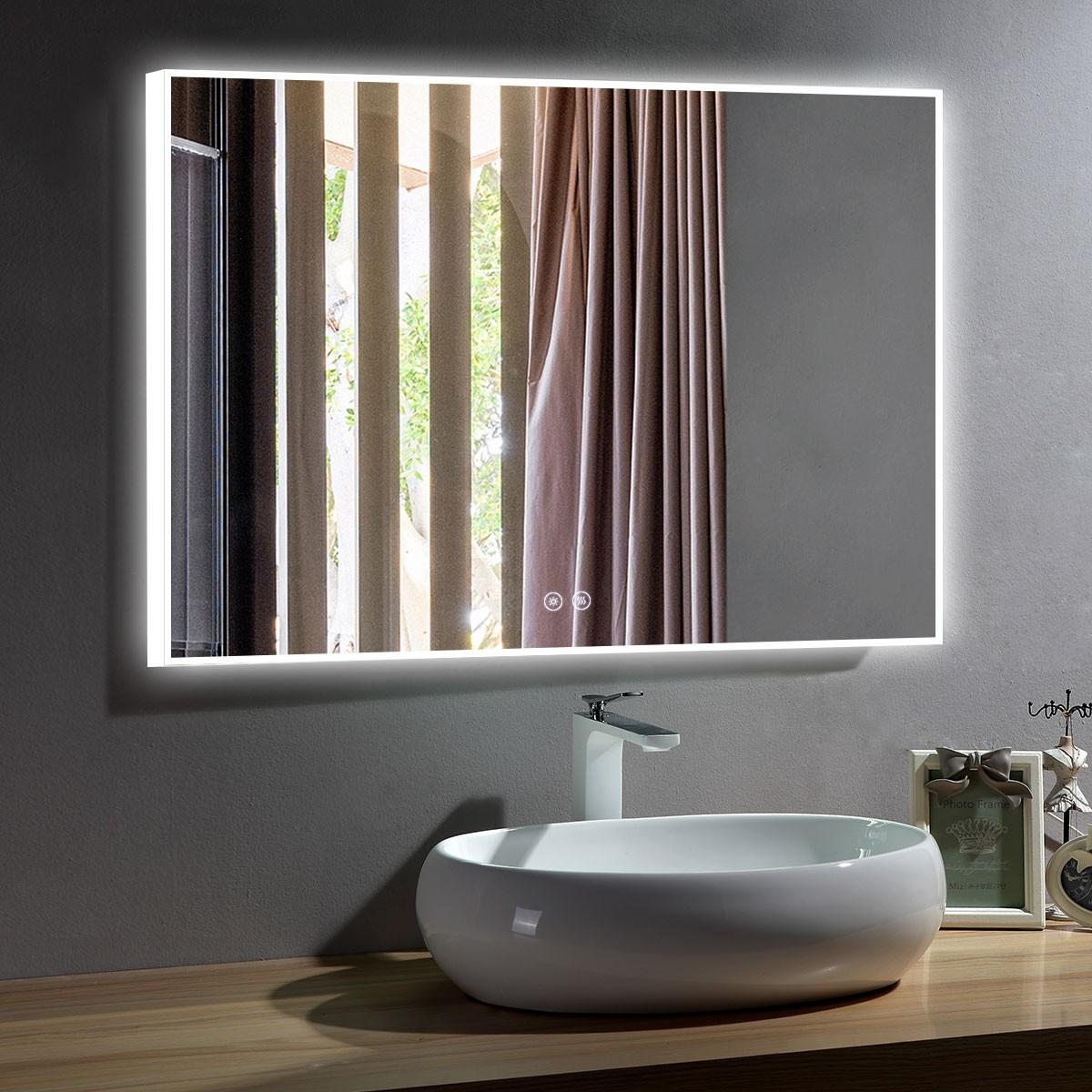 DECORAPORT 48 x 36 Po Miroir de Salle de Bain LED avec Bouton Tactile, Anti-Buée, Luminosité Réglable, Bluetooth, Montage Vertical & Horizontal (D423-4836A)