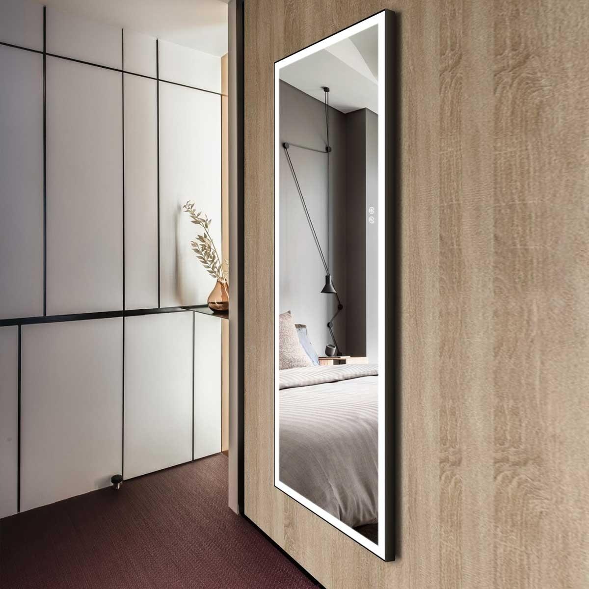 DECORAPORT 70 x 28 Po Miroir Chambre LED Pleine Longueur avec Bouton Tactile, Cadre noir, Luminosité Réglable, Lumière Froid & Chaud (D1901-7028)