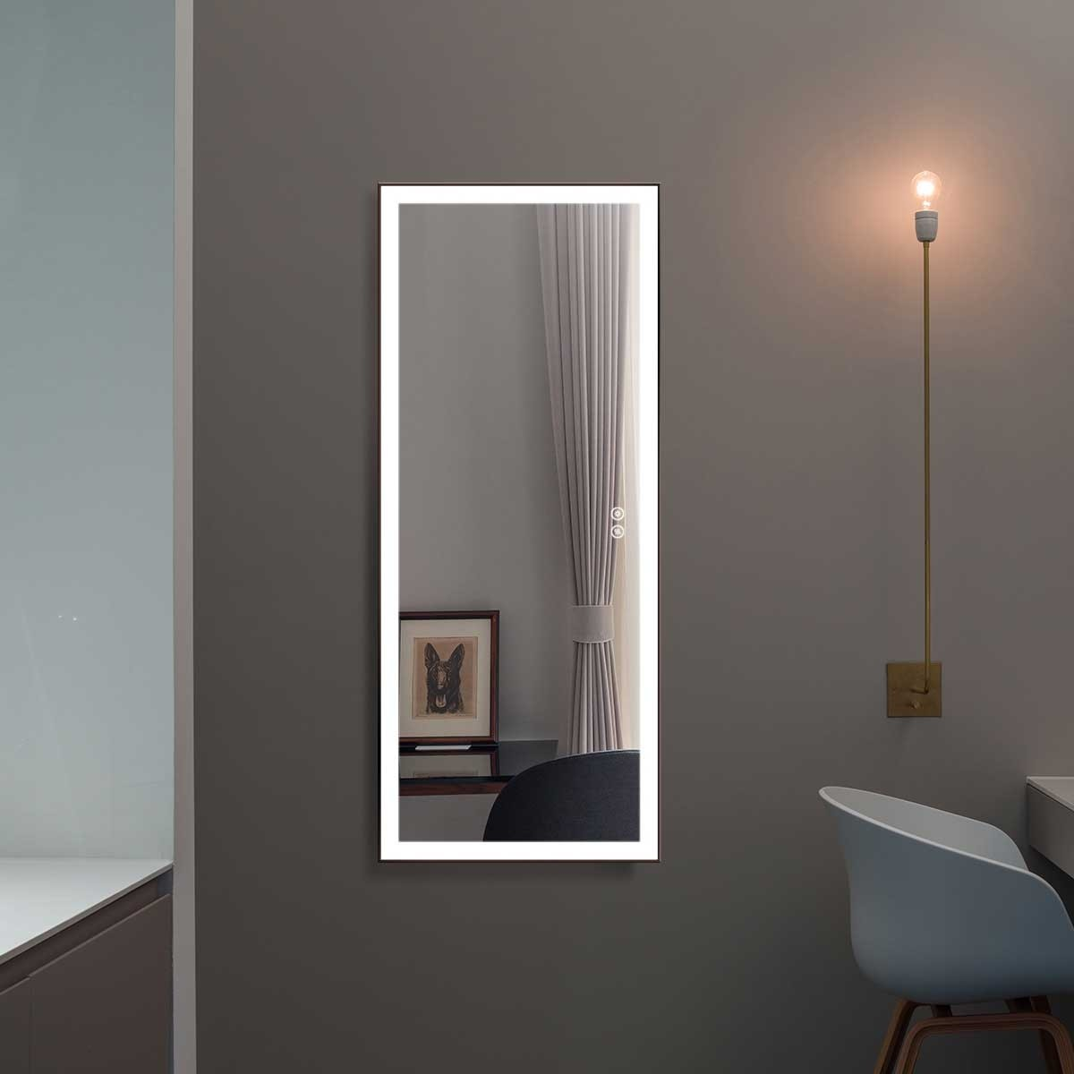 DECORAPORT 48 x 20 Po Miroir Chambre LED Pleine Longueur avec Bouton Tactile, Cadre noir, Luminosité Réglable, Lumière Froid & Chaud (DJ2-4820-B)