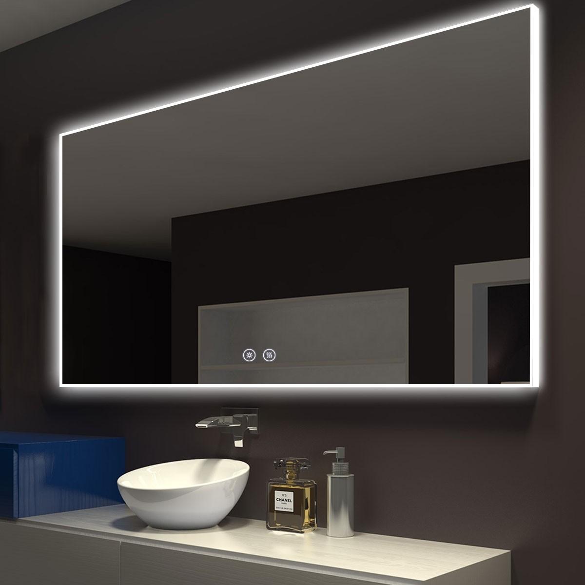 DECORAPORT 55 x 36 Po Miroir de Salle de Bain LED avec Bouton Tactile, Anti-Buée, Luminosité Réglable, Bluetooth, Montage Vertical & Horizontal (D422-5536A)