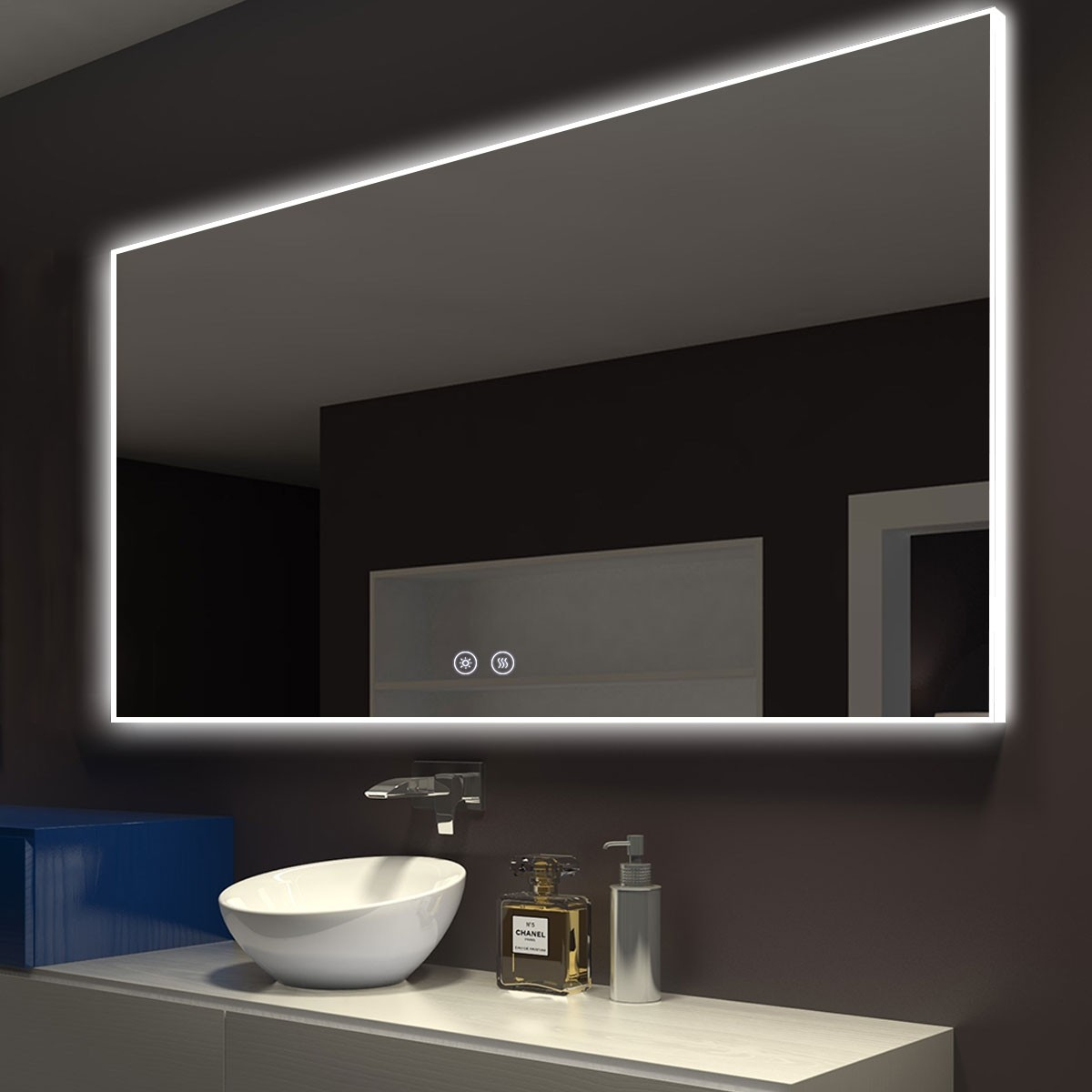 DECORAPORT 55 x 36 Po Miroir de Salle de Bain LED avec Bouton Tactile, Anti-Buée, Luminosité Réglable, Bluetooth, Montage Vertical & Horizontal (D422-5536A)