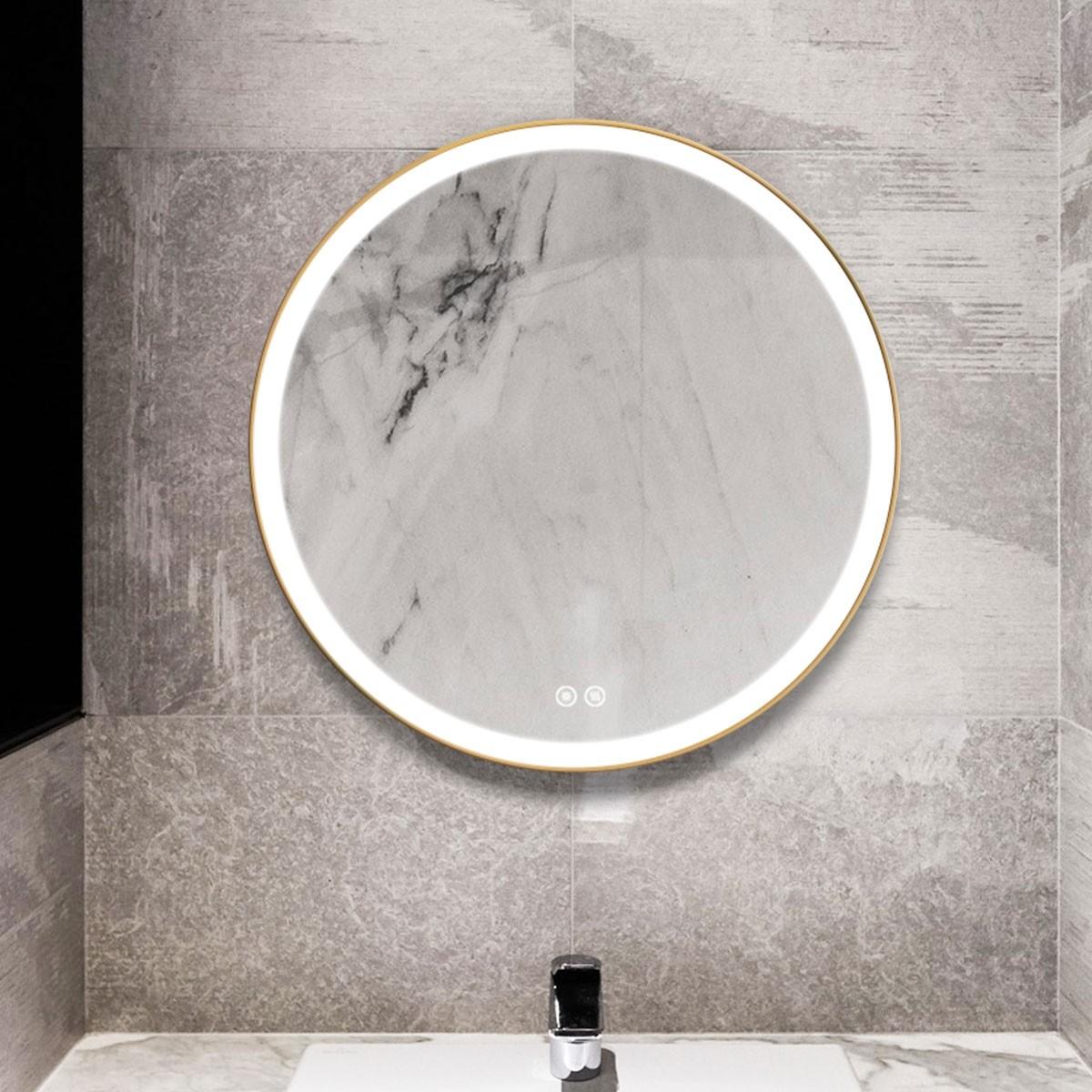 DECORAPORT 28 x 28 Po Miroir de Salle de Bain LED avec Bouton Tactile, Luxe Léger, Anti-Buée, Luminosité Réglable (D902-2828)