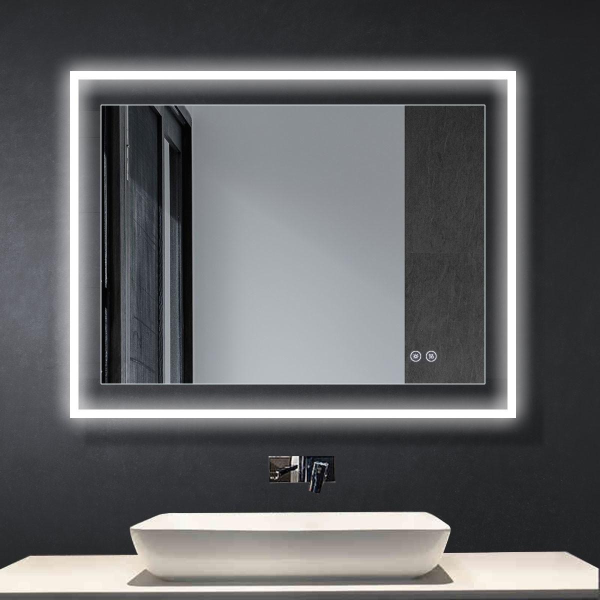 DECORAPORT 36 x 28 Po Miroir de Salle de Bain LED avec Bouton Tactile, Anti-Buée, Luminosité Réglable, Montage Vertical & Horizontal (D313-3628)