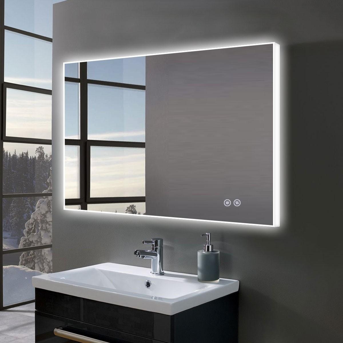 DECORAPORT 36 x 28 Po Miroir de Salle de Bain LED avec Bouton Tactile, Anti-Buée, Luminosité Réglable, Montage Vertical & Horizontal (D413-3628)
