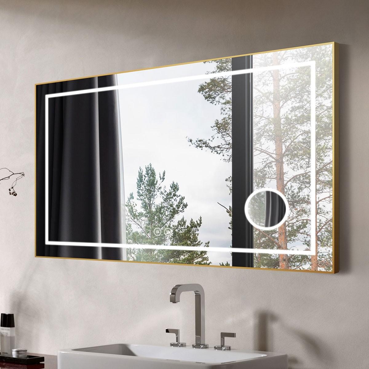 DECORAPORT 55 x 36 Po Miroir de Salle de Bain LED avec Bouton Tactile, Luxe Légère, Anti-Buée, Luminosité Réglable, Bluetooth, Loupe, Montage Horizontal(D721-5536AC)