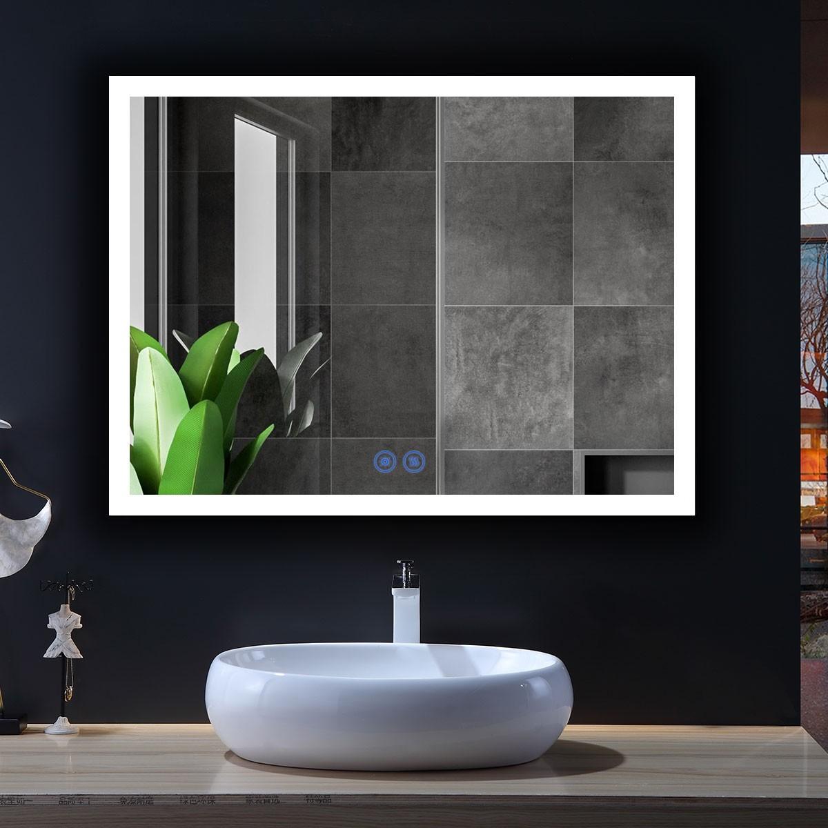 DECORAPORT 48 x 36 Po Miroir de Salle de Bain LED/Miroir Chambre avec Bouton Tactile, Anti-Buée, Luminosité Réglable, Bluetooth, Montage Vertical & Horizontal (D124-4836A)