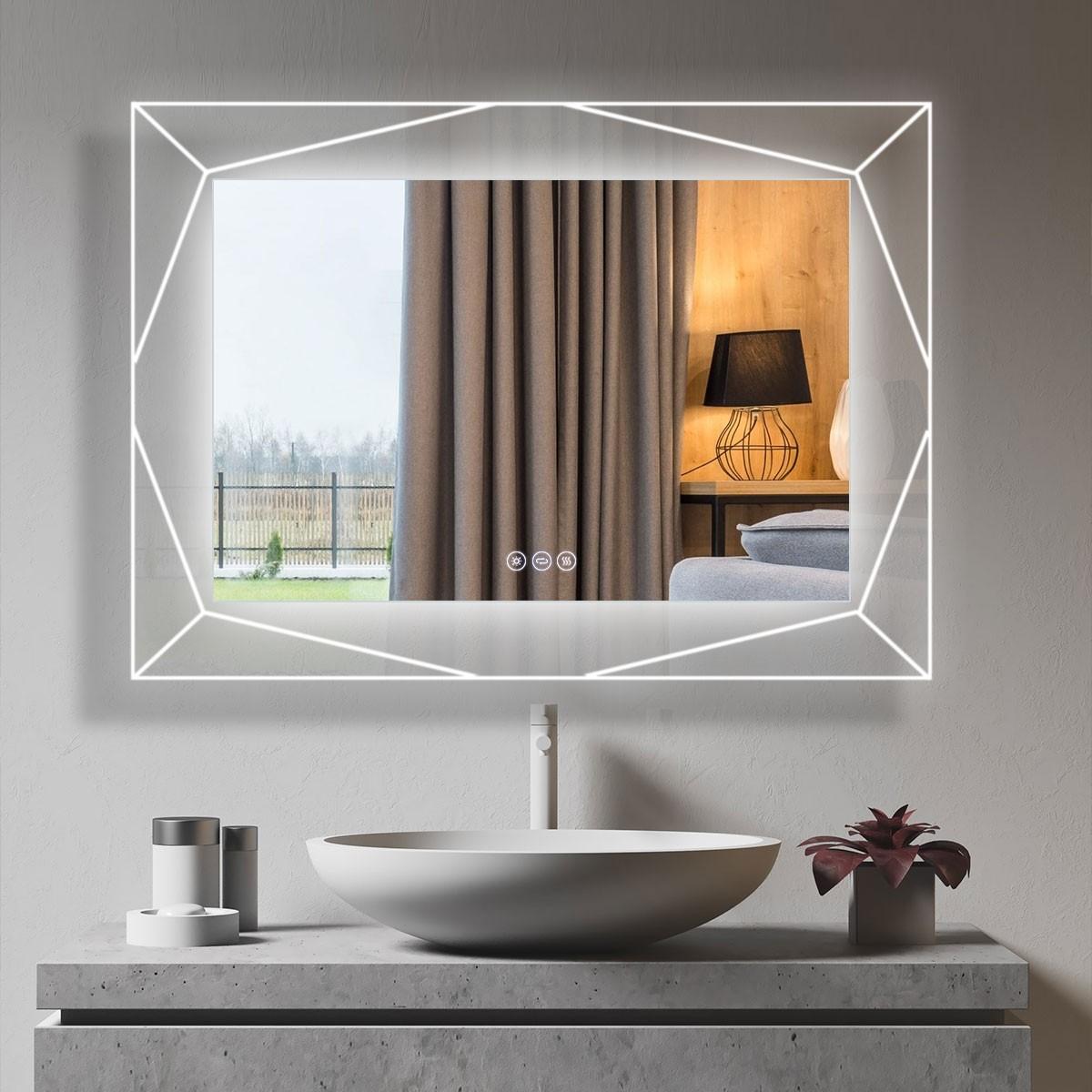 DECORAPORT 48 x 36 Po Miroir de Salle de Bain LED avec Bouton Tactile, Haut-Parleur Bluetooth, Lumières Tricolores, Anti-Buée, Luminosité Réglable, Montage Vertical & Horizontal (D1516-4836AB)