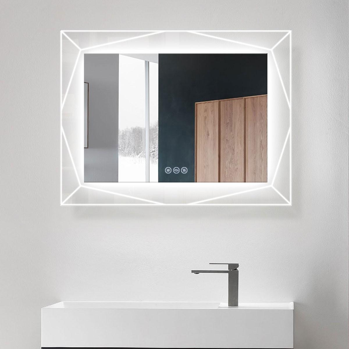 DECORAPORT 36 x 28 Po Miroir de Salle de Bain LED avec Bouton Tactile, Haut-Parleur Bluetooth, Lumières Tricolores, Anti-Buée, Luminosité Réglable, Montage Vertical & Horizontal (D1517-3628AB)