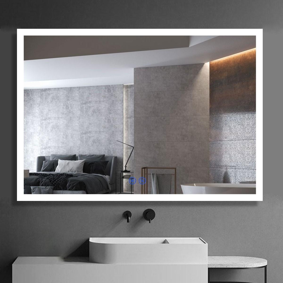 DECORAPORT 40 x 28  Po Miroir de Salle de Bain LED/Miroir Chambre avec Bouton Tactile, Anti-Buée, Luminosité Réglable, Montage Vertical & Horizontal (D110-4028)