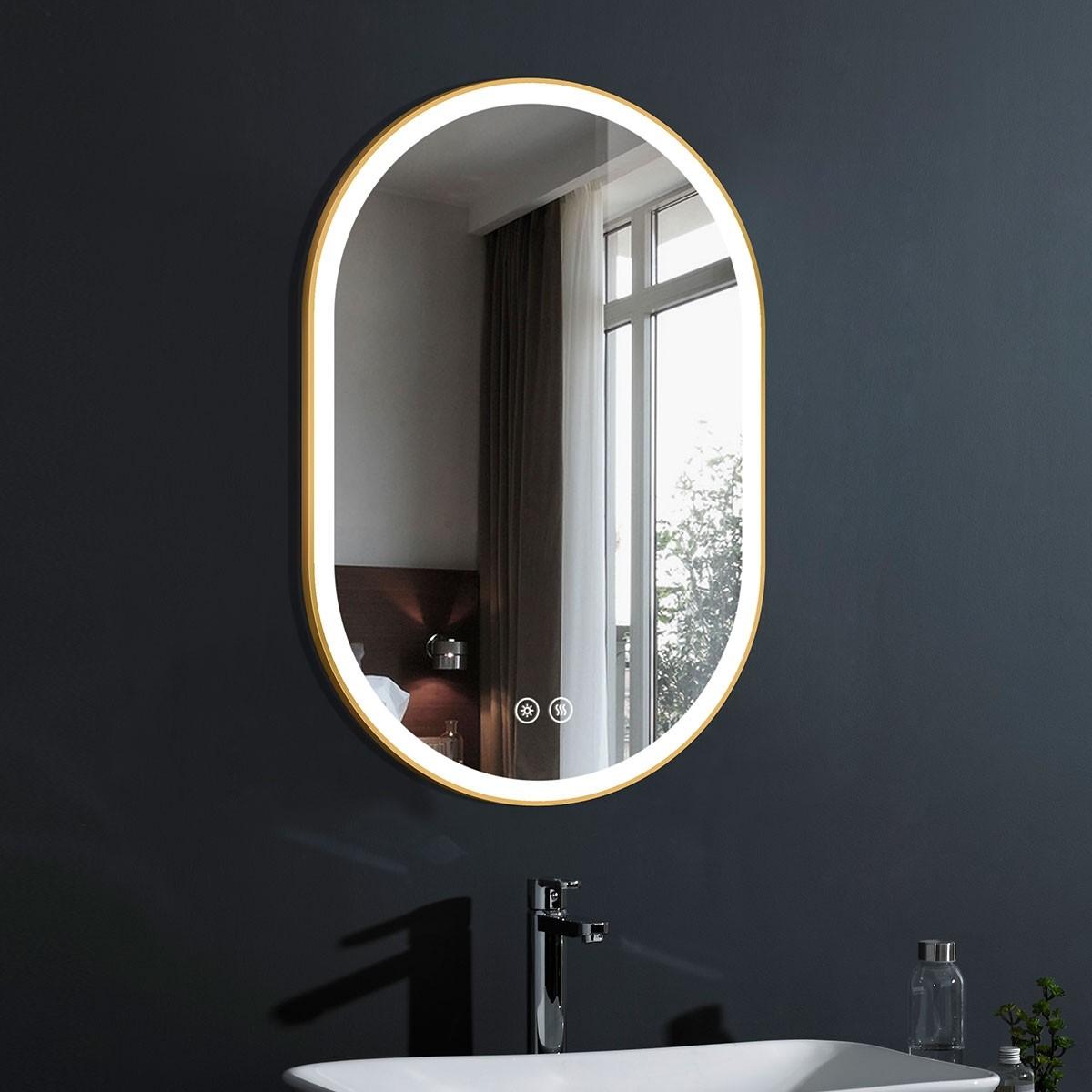 DECORAPORT 24 x 36 Po Miroir de Salle de Bain LED avec Bouton Tactile, Cadre Doré, Anti-Buée, Luminosité Réglable, Montage Vertical & Horizontal (D1301-2436)