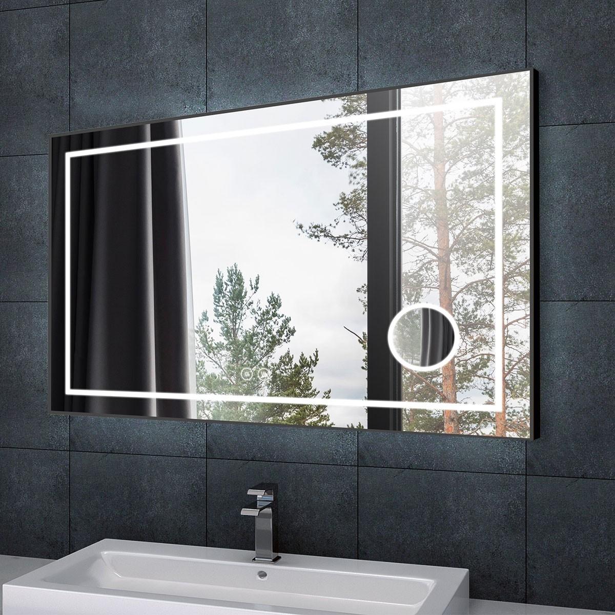 DECORAPORT 55 x 36 Po Miroir de Salle de Bain LED/Miroir Chambre avec Bouton Tactile, Loupe, Anti-Buée, Luminosité Réglable, Bluetooth, Montage Horizontal (D623-5536AC)