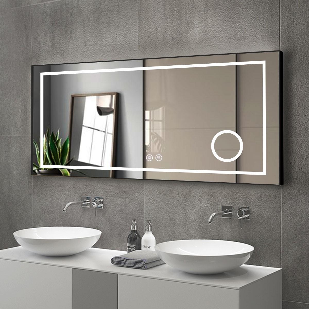 DECORAPORT 60 x 28 Po Miroir de Salle de Bain LED/Miroir Chambre avec Bouton Tactile, Loupe, Anti-Buée, Luminosité Réglable, Montage Horizontal (D621-6028C)