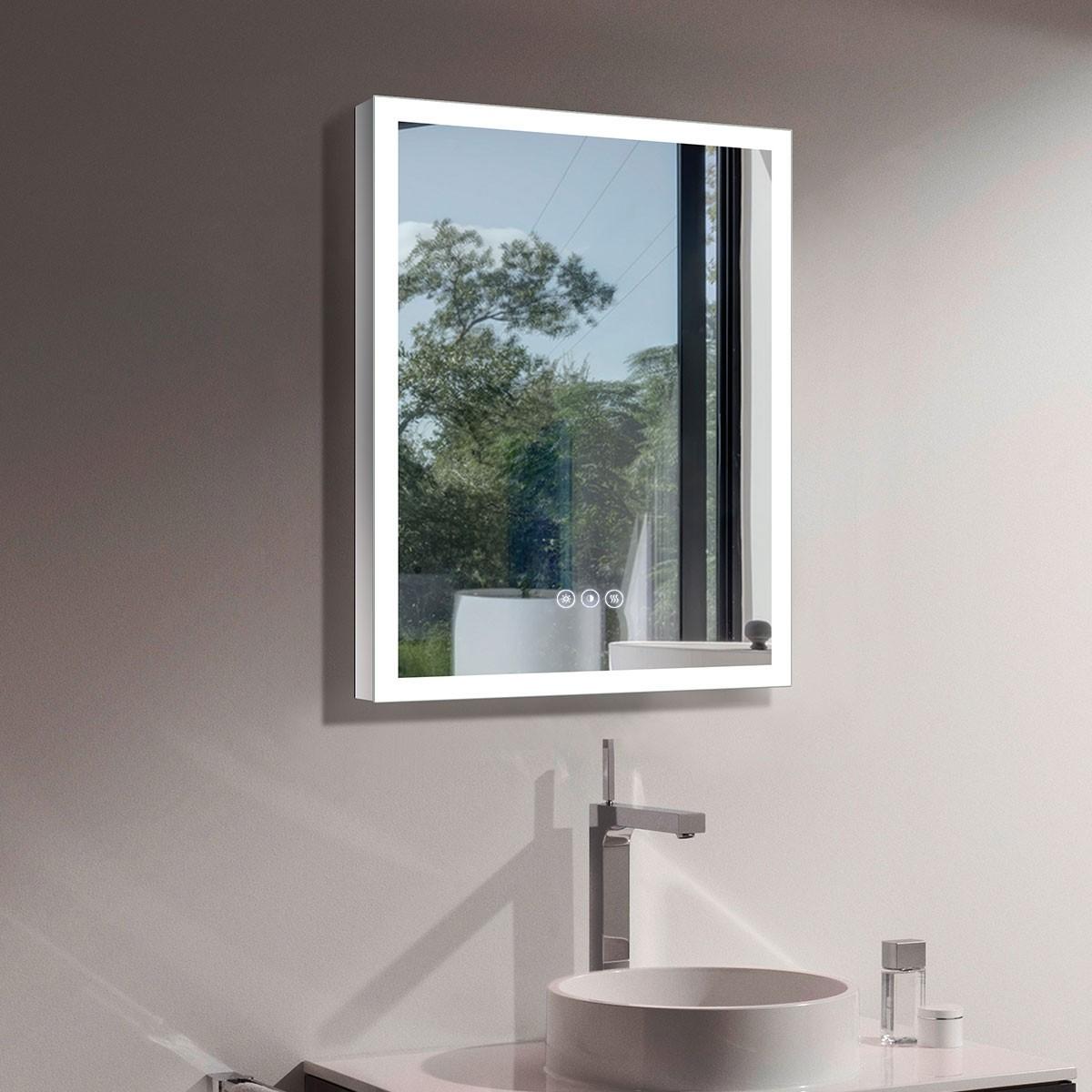 DECORAPORT 24 x 32 Po Miroir de Salle de Bain LED/Miroir Chambre avec Bouton Tactile, Anti-Buée, Luminosité Réglable, Blanc Froid & Chaud (D123-2432B)