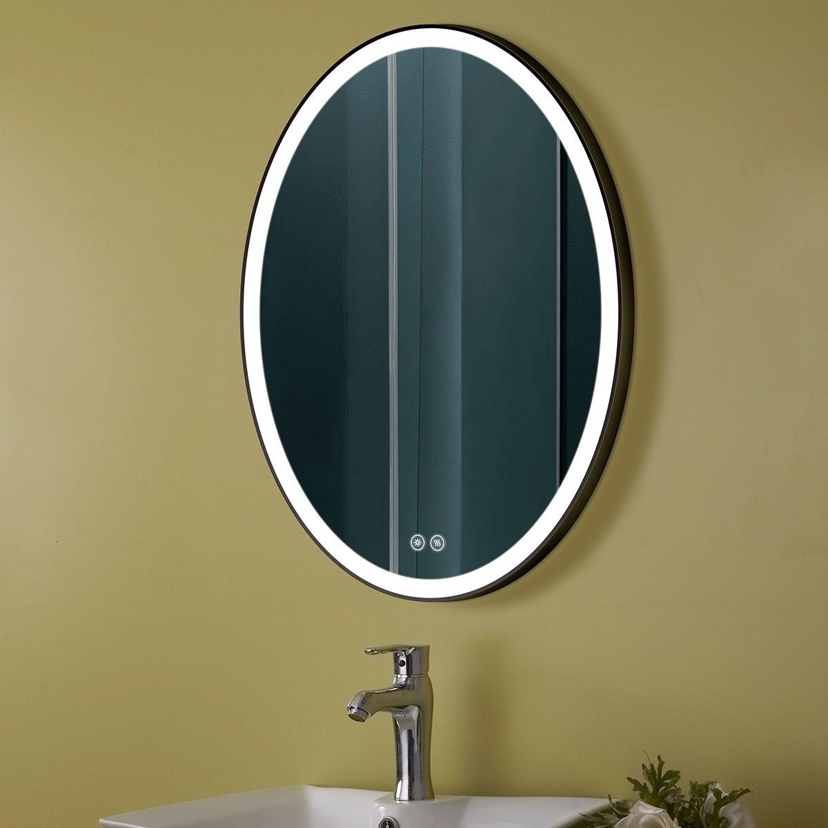 DECORAPORT 24 x 32 Po Miroir de Salle de Bain LED/Miroir Chambre avec Bouton Tactile, Anti-Buée, Luminosité Réglable, Montage Vertical (D1102-2432)