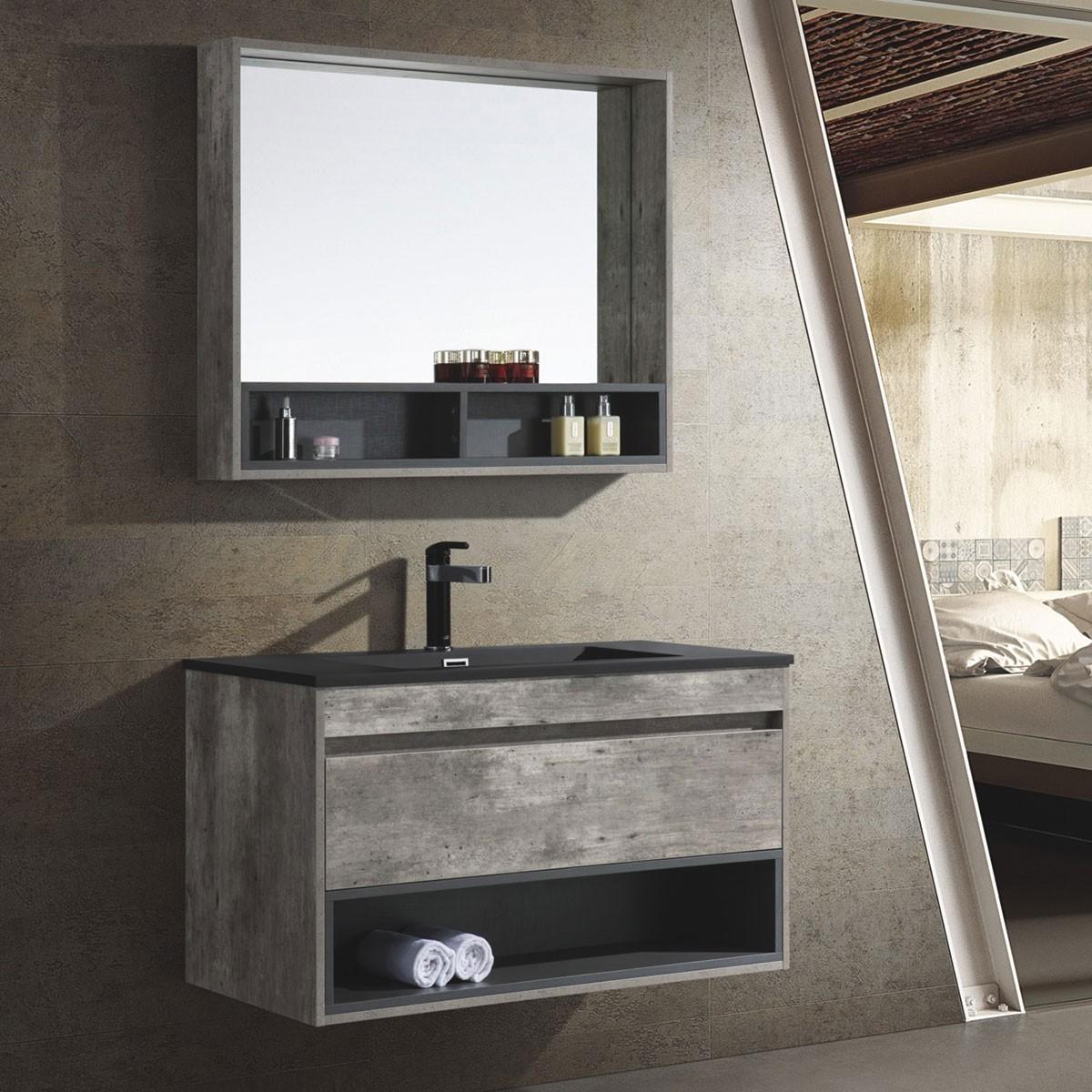 39 Po Ensemble Meuble Salle de Bain Suspendu au Mur avec Armoire-Miroir (HP1001-SET)