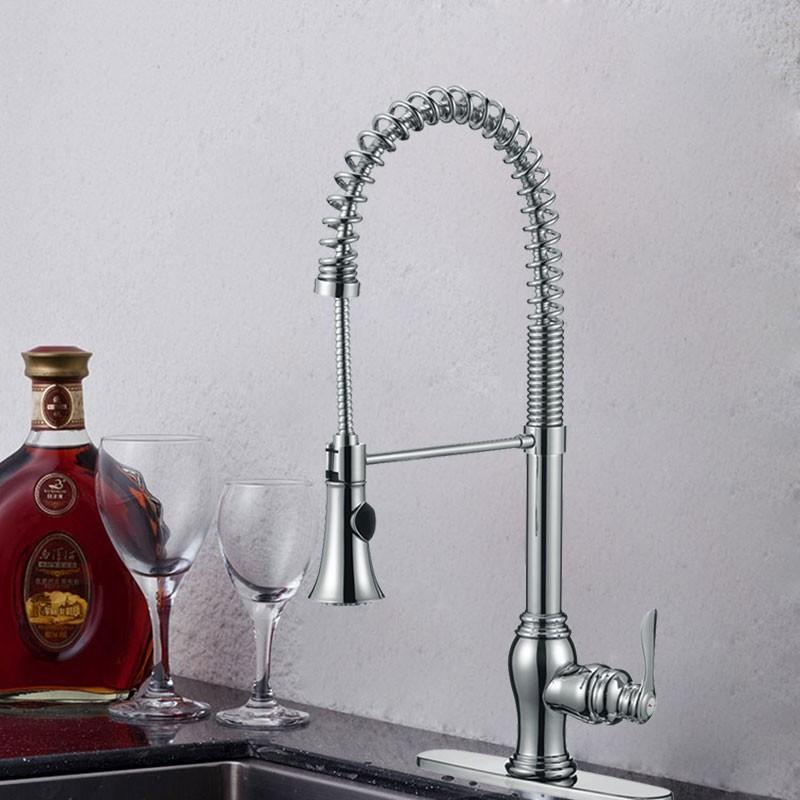 Robinet de Cuisine en Laiton Fini Chrome - Tête de Douche Rétractable avec Ressort Spiral (82H05-CHR)