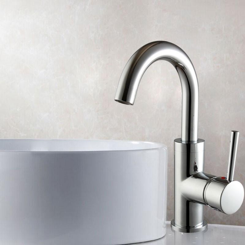 Robinet de Lavabo&Vasque - Simple Trou Simple Levier - Laiton Fini Chrome (5310A)