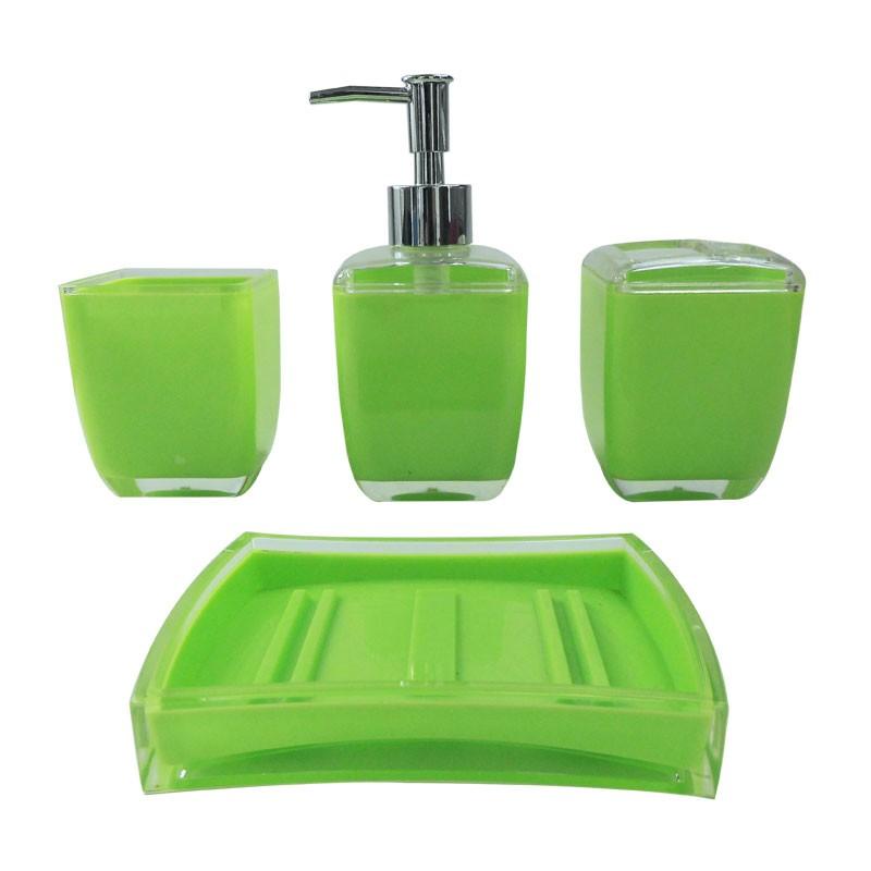 Set 4 accessoires salle de bain rectangulaire et vert dk st007 decorapor - Set accessoires salle de bain ...
