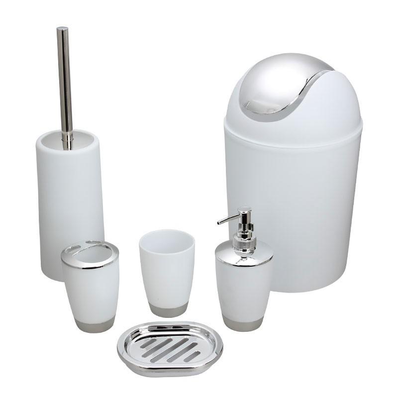 Set 6 accessoires salle de bain blanc dk st015 for Alinea accessoires salle de bain