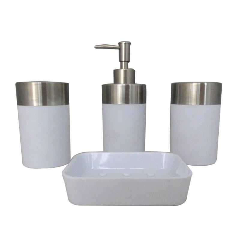 Set 4 accessoires salle de bain blanc dk st020 decoraport canada - Set accessoires salle de bain ...
