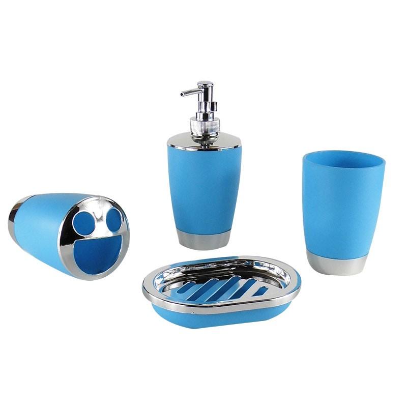 Set 4 accessoires salle de bain bleu dk st010 for Bleu salle de bain