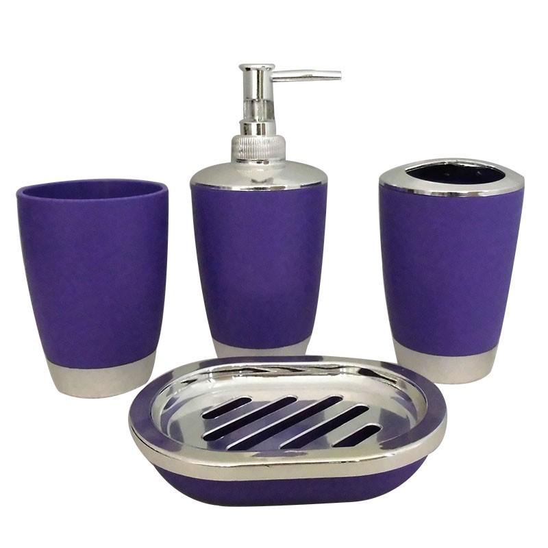 Set 4 accessoires salle de bain violet dk st012 - Accessoire salle de bain avec ventouse ...