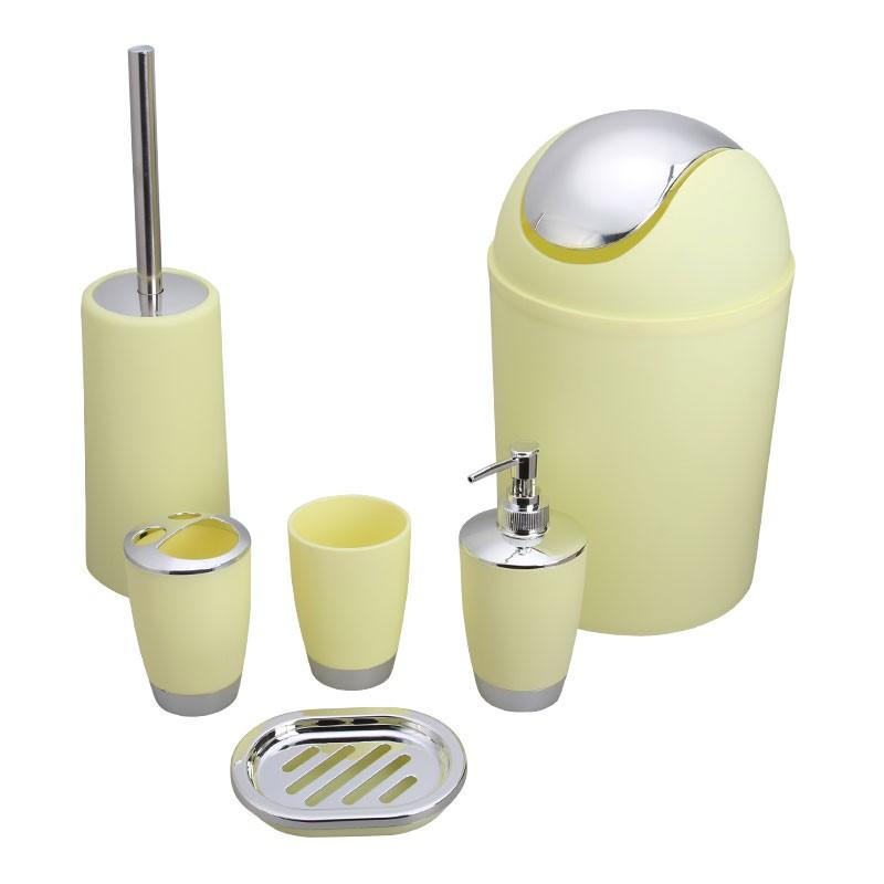 Set 6 accessoires salle de bain jaune dk st016 decoraport canada - Set accessoires salle de bain ...