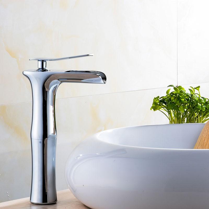 Robinet à Cascade de Lavabo&Vasque - Simple Trou Simple Levier - Laiton Fini Chrome (81H36-CHR-005-T)