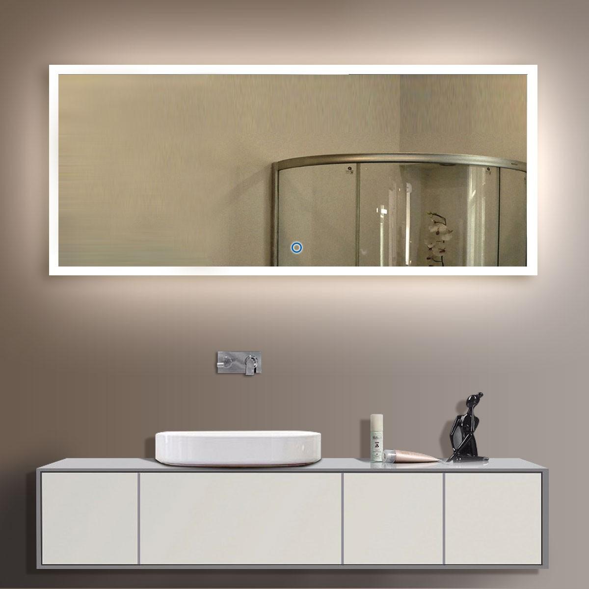 84 x 40 po miroir de salle de bain LED horizontal avec bouton tactile (DK-OD-N031-A)