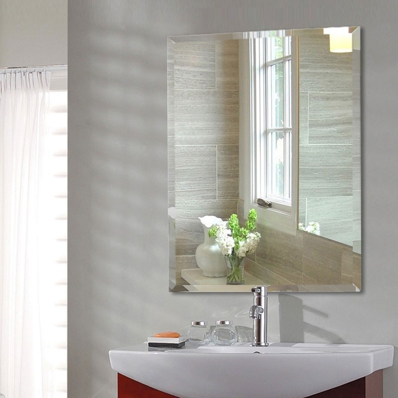 24 x 32 po miroir argent sans cadre de salle de bain for Miroir 50x70 sans cadre