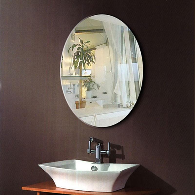 24 x 32 po miroir argent ovale sans cadre de salle de for Miroir biseaute sans cadre