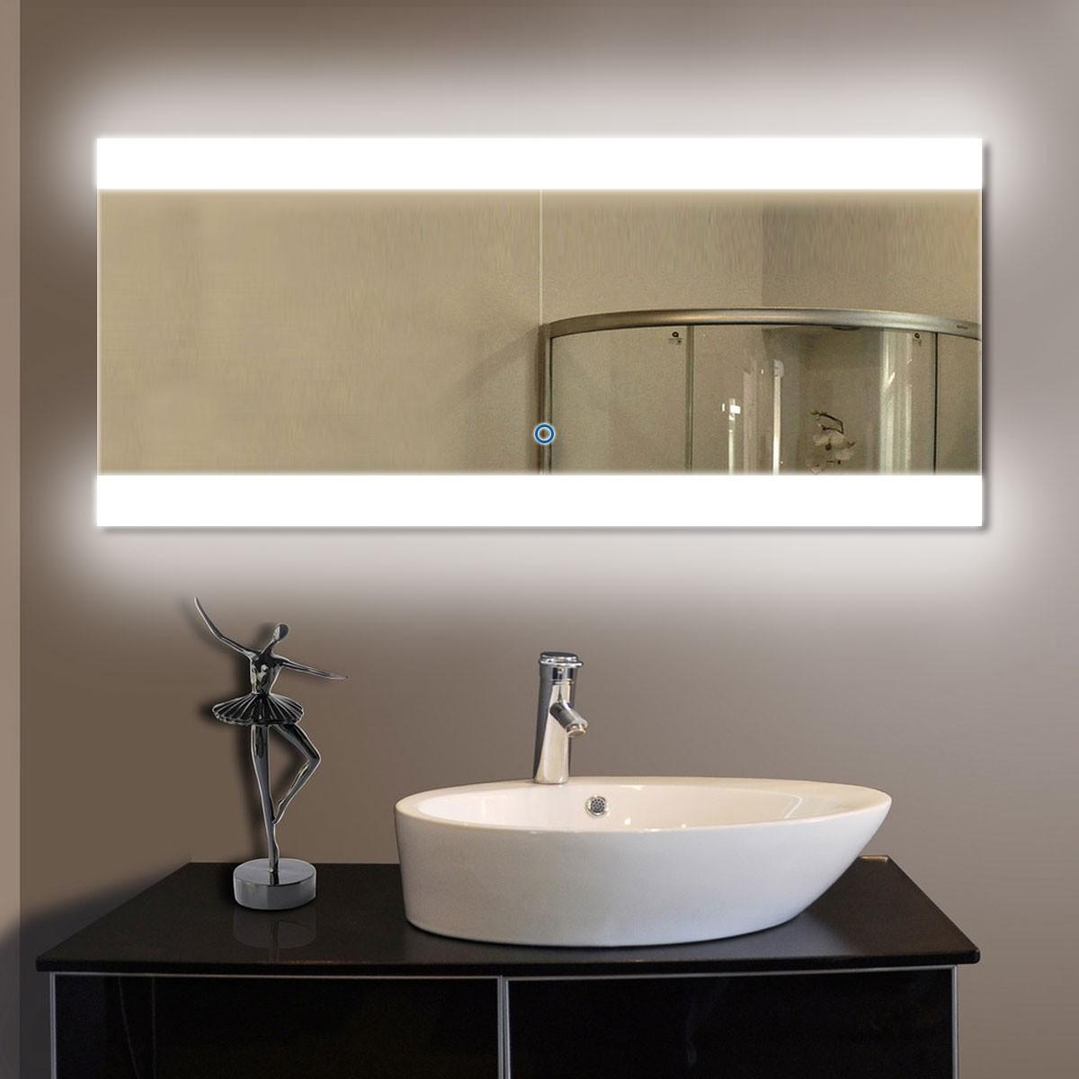 80 x 36 po miroir de salle de bain LED horizontal avec bouton tactile (DK-OD-T03-2)
