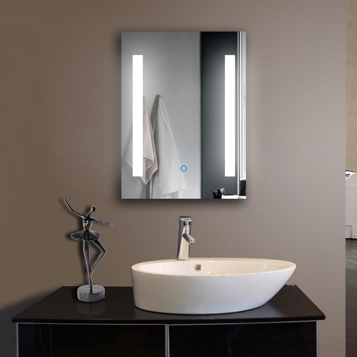 24 x 32 po miroir de salle de bain LED vertical avec bouton tactile (DK-OD-C23)
