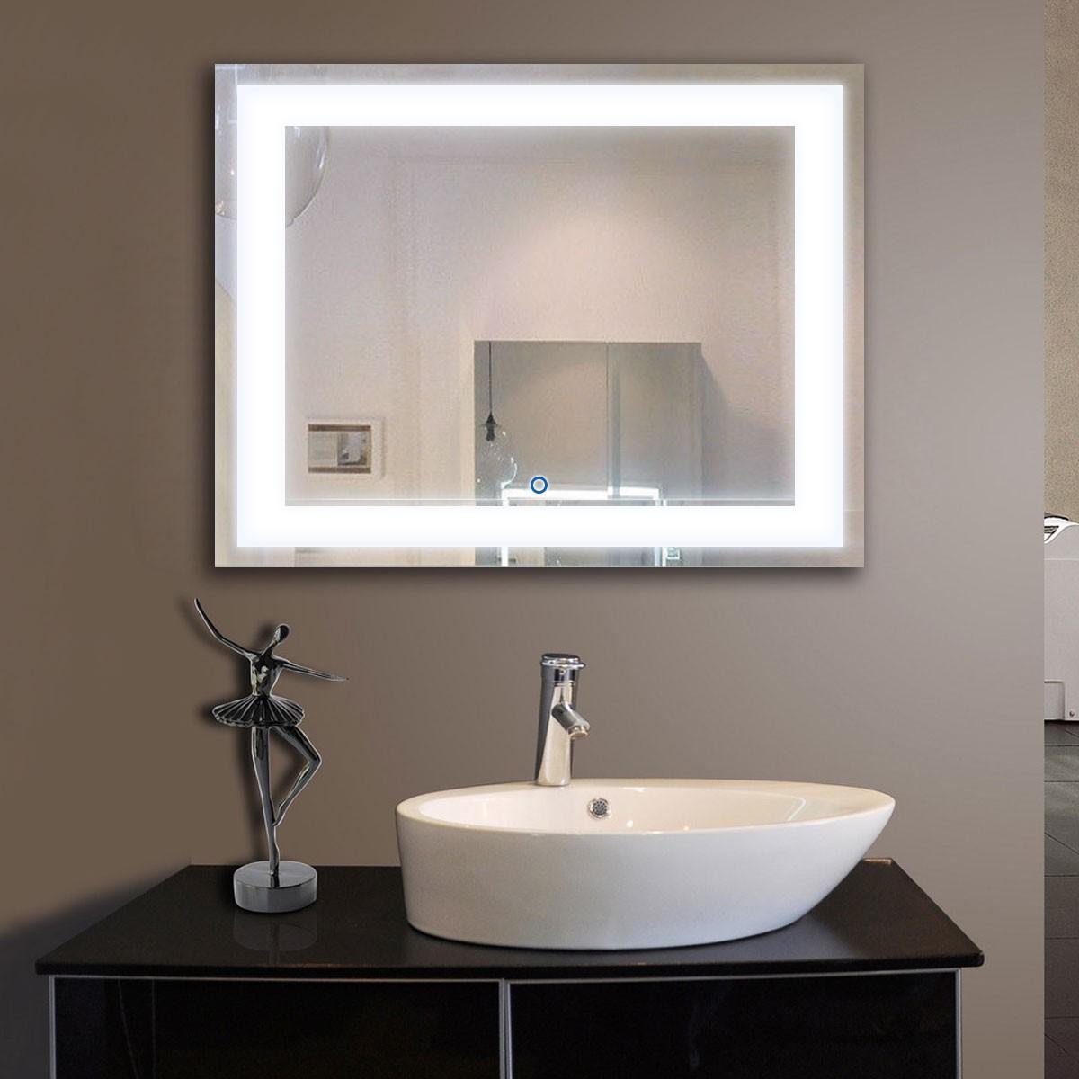 28 x 36 po Miroir Horizontal Argenté LED Salle de Bains avec