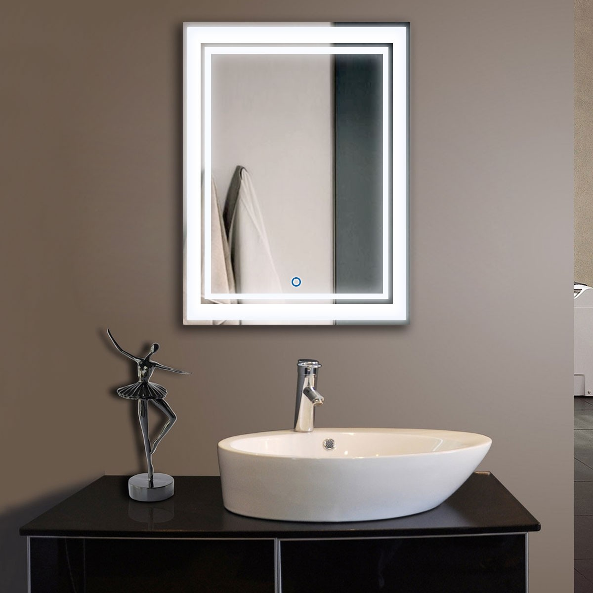 24 x 32 po miroir vertical argent led salle de bains avec for Applique miroir salle de bain avec interrupteur
