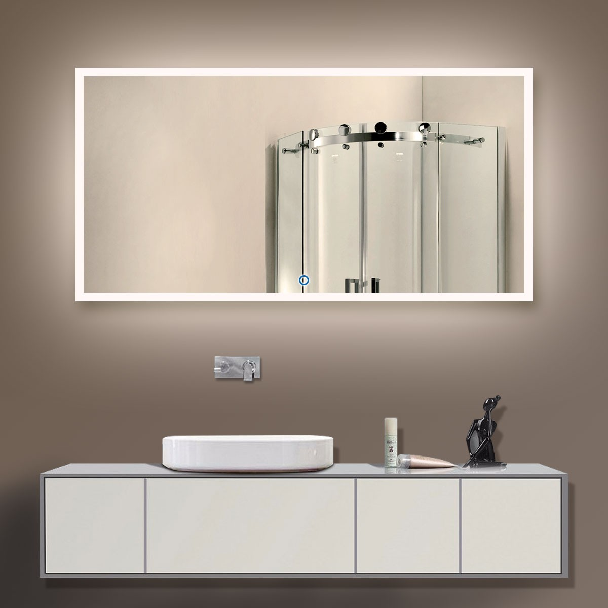 55 x 28 po miroir led salle de bain horizontal avec l. Black Bedroom Furniture Sets. Home Design Ideas