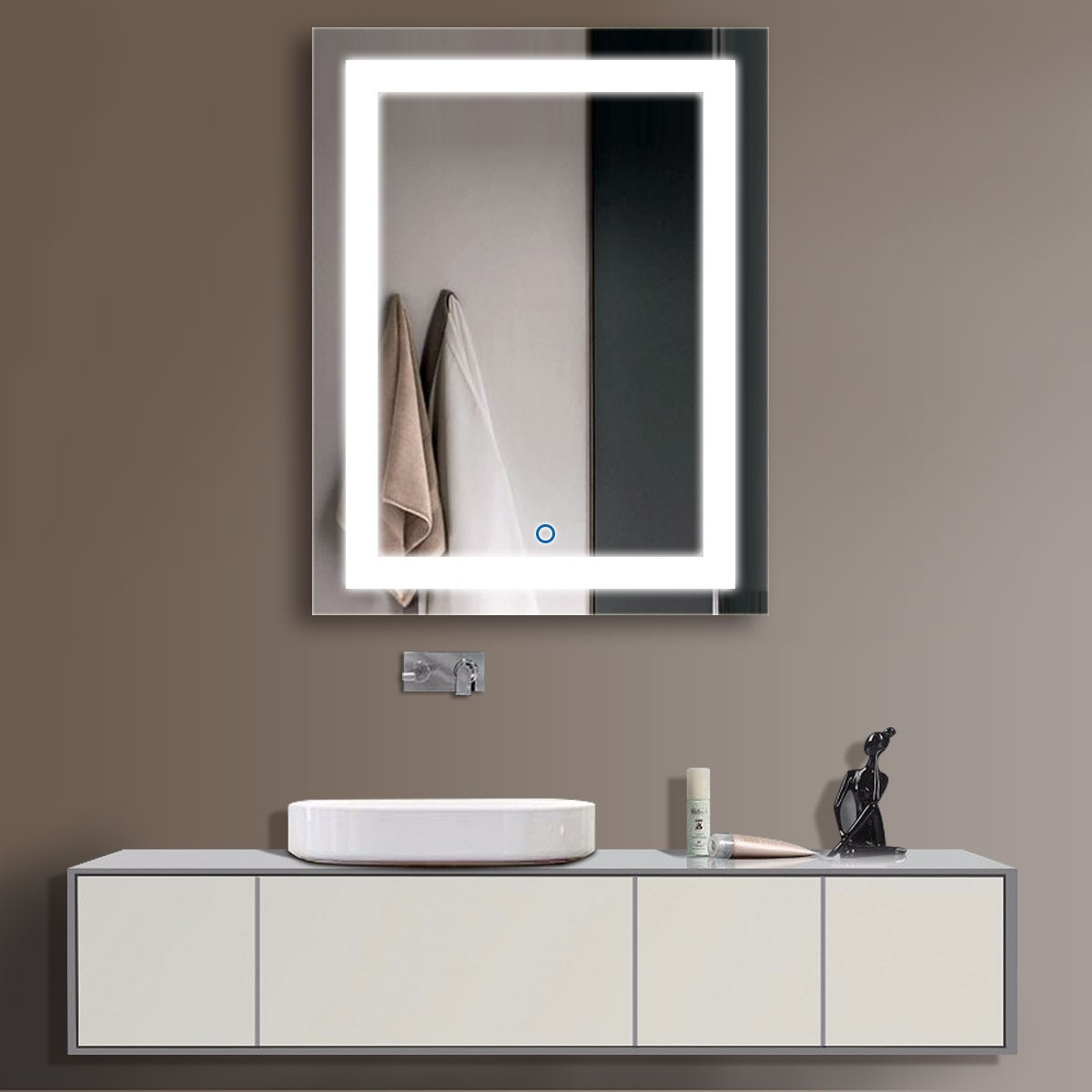 28 x 36 po miroir vertical argent led salle de bains avec for Miroir vertical